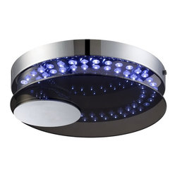 Lite Source - Lite Source Kelcy Contemporary LED Ceiling Light XSL-7245 - This Lite Source LED ceiling light from the Kelcy Collection features a clean circular shape with a circular accent that has been off-set to one side. This contemporary ceiling light features a smoked glass panel paired with a blue LED light grid and eye-catching Chrome finish that pulls the look together.