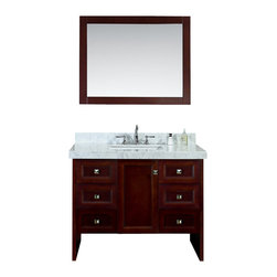"Ariel - Beckonridge 42"" Single-Sink Bathroom Vanity Set - Embodying elements of both traditional and modern styling,  this vanity from our Beckonridge collection features an open bottom design and sharp linear lines that will suit any bathroom environment.  Ample storage is provided through six pull-out drawers with soft-closing feature and a large center compartment."