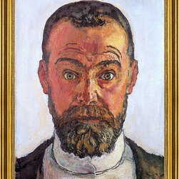 """Ferdinand Hodler-18""""x24"""" Framed Canvas - 18"""" x 24"""" Ferdinand Hodler Self Portrait framed premium canvas print reproduced to meet museum quality standards. Our museum quality canvas prints are produced using high-precision print technology for a more accurate reproduction printed on high quality canvas with fade-resistant, archival inks. Our progressive business model allows us to offer works of art to you at the best wholesale pricing, significantly less than art gallery prices, affordable to all. This artwork is hand stretched onto wooden stretcher bars, then mounted into our 3"""" wide gold finish frame with black panel by one of our expert framers. Our framed canvas print comes with hardware, ready to hang on your wall.  We present a comprehensive collection of exceptional canvas art reproductions by Ferdinand Hodler."""