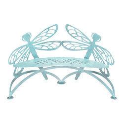 Cricket Forge - Dragonfly Bench, Verdi - Designed to embellish garden ponds, water features, patios and flower gardens, our Dragonfly Bench brings to mind the symbolism of the dragonfly  courage, strength and happiness. May these attributes be bestowed on the owners of this exquisite piece of functional art.