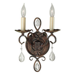 Feiss - Chateau Two-Light Wall Sconce - This stunning sconce will bring an elegant air to your d�cor.  You will adore its delicate details from the slender square scrolls to the rich mocha bronze finish.  These graceful curls are accented by hand polished glass crystals that glimmer beautifully.  An admirable way to enhance your room, this piece exudes a timeless sophistication.   Feiss - WB1227MBZ