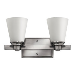 Hinkley Lighting - Avon Double Sconce - From a vintage collection reminiscent of the 1920s and 1930s comes this clean, sophisticated light in brushed nickel. Its timeless design will look stunning in your bathroom and above your vanity.