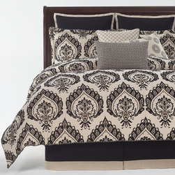 Equinox bedding ensemble - The charming damask pattern adds dimension to the room design.