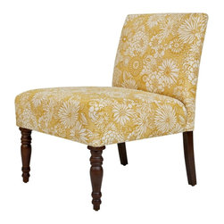 Angelo:Home Bradstreet Chair, Vintage Sun-Washed Floral Tan - This elegant chair dressed in freesia is sure to be a statement piece.