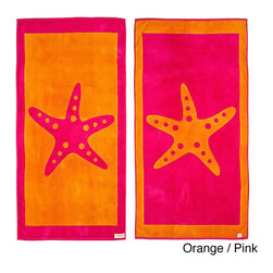 Freeman - Starfish Reversible Oversized Beach Towel - This wonderfully lush,oversized beach towel features a fun starfish print on both sides. Made from super plush cotton,this beach towel is reversible for versatility.