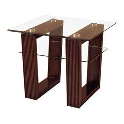 Magnussen - Magnussen Cordoba Rectangular End Table with Glass Top - Magnussen - End Tables - 27702KIT