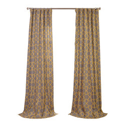 Exclusive Fabrics & Furnishings, LLC - Marabella Printed Cotton Curtain - What could be fresher than new drapes at your windows or doors? These beauties feature a sunny yellow trellis pattern on soft-gray cotton. Each 50-inch-wide lined panel comes in your choice of lengths and can be hung using either the rod pocket or hidden back tabs.