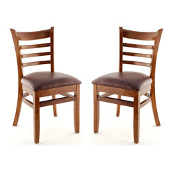 Sating Masters - US Made Ladder Back Chair - Set of 2 (Walnut), Wine Vinyl Seat - The Premium Wood Ladder Back Chair offers a traditional design which will be sure to provide your customers with the comfort they desire.
