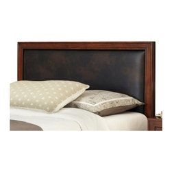 Home Styles - Home Styles Duet Queen Panel Headboard Brown Leather Inset-King - Home Styles - Headboards - 5546601A - Create distinctive style with this modern Headboard. The Panel Headboard is accentuated with a Brown Embossed Leather Panel inset and is padded for comfort.