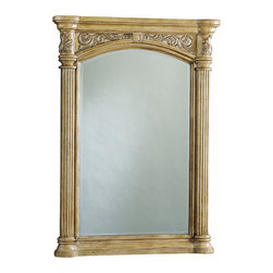 Provincial Bathroom Mirror - Light - The Provincial Mirror has graceful side columns and intricate carved details. This mirror matches the Provincial Light Bath Vanity Collection, but it can easily find a home anywhere sophisticated style is appreciated. Let your imagination run wild with this handsome bathroom mirror.