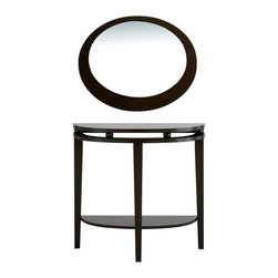 Furniture of America - Furniture of America Modern Full Moon Shape Mirror - This gorgeously crafted round decorative wall mirror by Enitial Lab is the perfect accent to any decor. With a deep espresso finish border,the elegant round mirror provides a touch of sophistication that is perfect for hanging in any room.