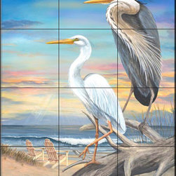 The Tile Mural Store (USA) - Tile Mural - Coastal Herons - Mt - Kitchen Backsplash Ideas - This beautiful artwork by Mary Lou Troutman has been digitally reproduced for tiles and depicts two herons next to the beach.  Images of waterfowl on tiles are great to use as a part of your kitchen backsplash tile project or your tub and shower surround bathroom tile project. Pictures of egrets on tile, images of herons on tile and decorative tiles with ducks and geese make a great kitchen backsplash idea and are excellent to use in the bathroom too for your shower tile project. Consider a tile mural of water fowl for any room in your home where you want to add interesting wall tile.