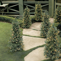 Ballard Designs - Blue Spruce Staked Tree - Our everlasting Blue Spruce Trees have the same deep, blue-green color and defined shape of natural Colorado Blue Spruce, but will never dry out or drop their needles. Staked and Potted trees come pre-wired with dozens of white lights. Staked trees include a 6 inch ground stake.