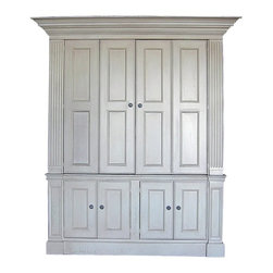 """British Traditions - Large Entertainment Center w Bi-Folding Wrap Doors & Fluted Columns (Stone) - Finish: Stone. Each finish is hand painted and actual finish color may differ from those show for this product. Large entertainment center with bi-folding wrap doors and fluted columns. 1 Adjustable shelf standard. Interior size. Top: 62 in. W x 26 in. D x 49.5 in. H. Base: 50 in. W door opening x 26 in. D x 21.5 in. H. 62 in. W Behind face frames. 71 in. W x 34 in. D x 88 in. H (359 lbs.)One of our newest and largest Entertainment Centers, the Bournemouth has an interior that fits up to a 60"""" wide television. The bi-folding wrap doors have multiple panels, giving it a very detailed, yet streamlined look. The base offers plenty of storage to hide media components. Please note that this unit ships in one piece."""