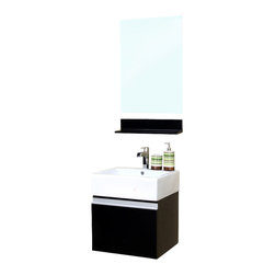 Bellaterra Home - 20.5 in Single wall mount style sink vanity-wood-espresso - This simple yet elegant wall mount style wood vanity is perfectly simple and functional for your home. Rich black wood finish with sleek nickel hardware enhance a modern bathroom. Semi close finish ensure completely water proof surface against water damage caused by the humidity of the bathroom. Pull down style cabinet provide storage solution for any tight space.