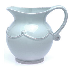 Berry and Thread Pitcher - Small - Blue - Both high capacity and curvaceous charm are traditional results of a spherical belly, a striking shape with looks cheerful and gracious on the Small Berry and Thread Pitcher in Blue. Made from chip-resistant stoneware with a dishwasher-safe glaze in icy sky blue, this pitcher brings a touch of the French country meadow to every welcoming spread on your table - or serves as a delightful vase.