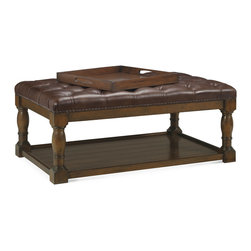 Baker Furniture - Charles Cocktail Ottoman - A true cocktail ottoman with a a deeply tufted top and nailhead trim over formidable turned legs. Planked shelf with a useful gallery. With the right fabric, this design can either go from almost rustic to almost refined. An excellent choice for anyone with a relaxed lifestyle. Sturdy party seating.