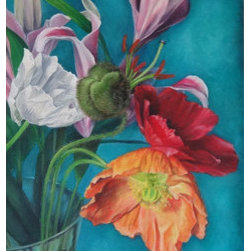 Colorful Poppies (Original) by Adya Crawford - My fiance surprised me with a bouquet of poppies to use as inspiration on a painting I was working on. I thought they were so beautiful and colorful that they deserved a painting of their own. I love how such a beautiful flowers emerges from such a strange looking seed pod.