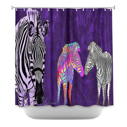 DiaNoche Designs - Shower Curtain Artistic Zebra Wild - DiaNoche Designs works with artists from around the world to bring unique, artistic products to decorate all aspects of your home.  Our designer Shower Curtains will be the talk of every guest to visit your bathroom!  Our Shower Curtains have Sewn reinforced holes for curtain rings, Shower Curtain Rings Not Included.  Dye Sublimation printing adheres the ink to the material for long life and durability. Machine Wash upon arrival for maximum softness on cold and dry low.  Printed in USA.