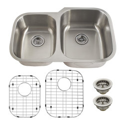 Schon - Schon Luxury 16 Gauge 40/60 Double Bowl Undermount Kitchen Sink(SC4060RV16) - Schon SC4060RV16 Luxury 16 Gauge 40/60 Double Bowl Undermount Kitchen Sink, Stainless Steel