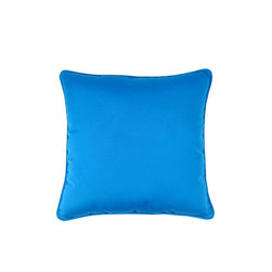 Lava - Sunbrella Solid 18 x 18 Pillow Pacific Blue (Indoor/Outdoor) - 100% polyester cover and fill. Made in USA. Spot clean only. Safe for use indoors or out.