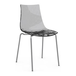 Calligaris - ICE Chair, Chrome Frame, Transparent Smoked Grey, Set of 2 - Aptly named, this chair will give you shivers of delight. Its translucent shell has a subtle textured pattern that's seen in just the right light. Pick a neutral gray or white, or turn it up a notch with a shock of red.