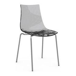Calligaris - ICE Chair, Chrome Frame, Transparent Smoked Grey - Aptly named, this chair will give you shivers of delight. Its translucent shell has a subtle textured pattern that's seen in just the right light. Pick a neutral gray or white, or turn it up a notch with a shock of red.