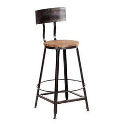 Smithville Bar Stool with Back - The Smithville Bar Stool combines rustic style and industrial design with its distressed metal frame and natural wood seat.