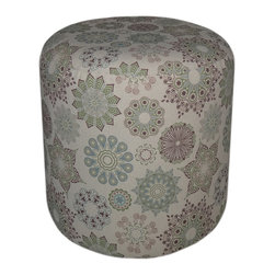 Cheung's - Home Decor Seasonal Gift Round Padded Kaleidoscope Patterned Wooden Ottoman - 16.5 Inches High. Wipe Clean with Damp Cloth.