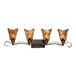 Uttermost Vetraio 4 Light Bronze Vanity Strip - Oil rubbed bronze with toffee tinted art glass. Heavy hand made glass is held in classic european iron works giving these pieces a contemporary quality, with strong traditional appeal as well.