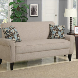 PORTFOLIO - Portfolio Harper Cream Chenille Rounded Arm Sofa - Give your living room,den,or family room a modern makeover with the addition of this chenille arm sofa. This sofa is upholstered in material that is a blend of soft chenille and polyester and has a sturdy hardwood frame for strength and durability.
