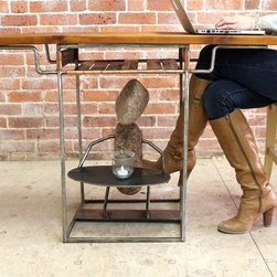 """Eclectic Rock Sculpture Desk - What's a desk without a bit of whimsy?!  This perfect small desk is just what the Dr. ordered if you are looking for a desk or end table that's practical and simultaneously decorative.  That's exactly what our welder did when combining multiple natural elements into this one design.  The old pine top is perfectly paired with the copper shelf and raw steel legs and is the just the right size for anyone with a lap top.   The stone sculpture below adds the subtle touch of whimsy that makes this one of a kind.   Size seen:  40""""l x 17""""w x  28""""h."""