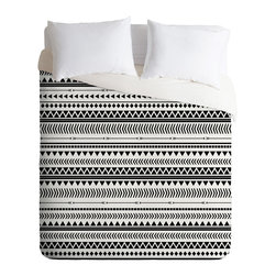 DENY Designs - Allyson Johnson Black And White Aztec Pattern Duvet Cover - Turn your basic, boring down comforter into the super stylish focal point of your bedroom. Our Luxe Duvet is made from a heavy-weight luxurious woven polyester with a 50% cotton/50% polyester cream bottom. It also includes a hidden zipper with interior corner ties to secure your comforter. it's comfy, fade-resistant, and custom printed for each and every customer.