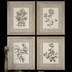 "35077 BOTANICALS WITH GREEN BORDER I,II,II by Uttermost - Get 10% discount on your first order. Coupon code: ""houzz"". Order today."