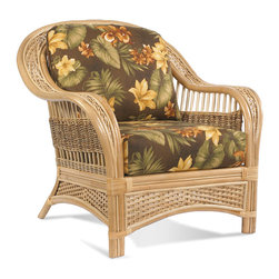 Wicker Paradise - Rattan Chair - Tropical Breeze - A Rattan Chair like the Tropical Breeze chair is made like a rock but looks like it belongs in a travel brochure! It surpasses our customers' expectations every time. Our reviews testify that this rattan chair is amongst the most luxurious, appealing and popular for those looking for a light, heavenly appearance. You will be extremely satisfied with its ultra-strong construction, comfort, and graceful twisted seagrass and woven wicker sides.   Tropical Breeze Rattan Chair:   Buy separately, add to a set of 5, or make your own set.  Stationary rattan chair is perfect depth with a plush back and bottom cushion for true comfort.  Extensive fabric options so you have more choices to create the perfect chair!  Fully assembled and ready to enjoy!