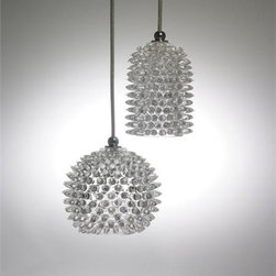 Union Street Glass - Urchin Mini Orb and Mini Cylinder Glass Pendant Light - These stunning pendants (Crystal Clear shown) will capture your  imagination with their exclusive spiky texture and vibrant colors.These pendants accept a 40W G9 Halogen bulb.See additional photo #2 for color options.