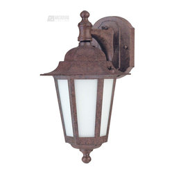 Satco - Satco Cornerstone ES Energy Efficient Traditional Outdoor Wall Sconce with Photo - The Cornerstone Outdoor Old Bronze Lantern offers an elegant look and beautiful illumination with its old bronze finish and satin-white frosted glass. Designed to help you save energy, this efficient lantern has a dusk-to-dawn photocell that provides added security and comfort.