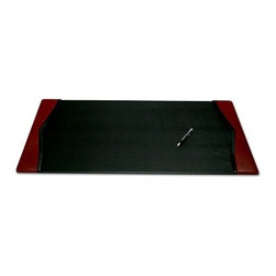 Dacasso Brescia 34 x 20 Leather Desk Pad - Our Dacasso Brescia 34 x 20 Leather Desk Pad will be the focal point of your desk. Ebony Italian leather is highlighted with a rich burgundy to foster a feeling of elegance. These pieces feature side rails that allow you to slide paper or a calendar under them. Order this desk pad now to help you beautifully organize your desk.-- Build your own Desk Set -- Add any of the coordinating pieces below to create your own customized desk set.