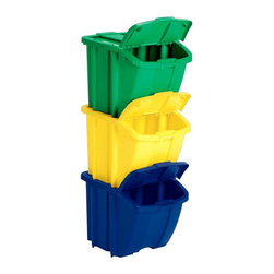 Suncast - Color-Coded Plastic Stackable Recycling Bins - 3 Pc Set - Recycling is easy with this handy set of color-coded bins.  Stackable bins feature snap-shut lids that help you sort plastic, aluminum, and newspaper with ease.  Or, use them to sort glass bottles according to color as required in some areas.  Durable plastic bins in space-saving design are sure to make your life easier. Set of 3. Made of Plastic. Mailer carton. 24 in. L x 17 in. D x 18 in. W