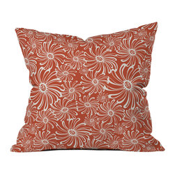 Heather Dutton Bursting Bloom Spice Outdoor Throw Pillow - Do you hear that noise? it's your outdoor area begging for a facelift and what better way to turn up the chic than with our outdoor throw pillow collection? Made from water and mildew proof woven polyester, our indoor/outdoor throw pillow is the perfect way to add some vibrance and character to your boring outdoor furniture while giving the rain a run for its money.