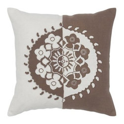 Rizzy Home Inverse Colors Ivory and Brown Decorative Throw Pillow - Flip flopped style for your home, the Rizzy Home Inverse Colors Ivory and Brown Decorative Throw Pillow has the right stuff to make a statement. With its ivory and brown medallion design with embroidery details, this accent pillow is a smart match to your decor. It's made of cotton slub with a plush, removable insert and is finished with a hidden zipper. Machine or hand wash the cover in cold water and lay flat to dry.About Rizzy HomeRizwan Ansari and his brother Shamsu come from a family of rug artisans in India. Their design, color, and production skills have been passed from generation to generation. Known for meticulously crafted, handmade wool rugs and quality textiles, the Ansari family has built a flourishing home-fashion business from state-of-the-art facilities in India. In 2007, they established a rug-and-textiles distribution center in Calhoun, Georgia. With more than 100,000 square feet of warehouse space, the U.S. facility allows the company to further build on its reputation for excellence, artistry, and innovation. Their products include a wide selection of handmade and machine-made rugs, as well as designer bed linens, duvet sets, quilts, decorative pillows, table linens, and more. The family business prides itself on outstanding customer service, a variety of price points, and an array of designs and weaving techniques.