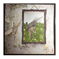 """Glittered Led Zeppelin IV Album - Glittered record album. Album is framed in a black 12x12"""" square frame with front and back cover and clips holding the record in place on the back. Album covers are original vintage covers."""
