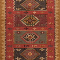 Jaipur Rugs - Flat-Weave Tribal Pattern Jute Red/Yellow Area Rug (4 x 6) - The Bedouin collection is hand woven in wool and jute . It has a rustic ,authentic look inspired by traditional kilimm patterns in rich rusts, blues and golds. The collection has a vintage, eclectic look that can easily be mixed and matched with its coordinating pillow and pouf collection.