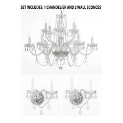 The Gallery - 3-Piece Lighting Set - Crystal chandelier and 2 Wall Sconces - Set includes: 1 chandelier and 2 wall sconces. chandelier description: A great European tradition. Nothing is quite as elegant as the fine crystal chandeliers that gave sparkle to brilliant evenings at palaces and manor houses across Europe. This beautiful crystal chandelier is decorated with 100% crystal that captures and reflects the light of the candle bulbs, each resting in a scalloped bob ache. The timeless elegance of This chandelier is sure to lend a special atmosphere in every home.