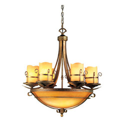 Eurofase Lighting - Eurofase Lighting 14578 Nine Light Up / Down Lighting Chandelier Rustic - Nine Light Chandelier from the Rustico CollectionThis stunning centerpiece is sure to be the focal point of every room. Solid yet elegant, the amber lights are designed like candles to complement the Arcadian beauty of the cast iron.
