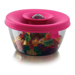"""Vacu Vin Popsome Snack & Candy Bowl - Pink - The PopSome Candy & Nut Dispenser is a practical dispenser for items such as nuts and candy. The brightly coloured lid and the patented Oxiloc system are specifically designed to ensure that the bowl remains airtight. If you pull up the flexible lid with a """"pop""""  a useful opening appears which makes it possible to simply dose the contents. The PopSome Candy & Nut Dispenser is perfect for parties. The PopSome ensures that the food is easily accessible  whilst also maintaining hygiene when shared by different people. The dispenser is also designed to retain items within the bowl should it be knocked over.  The PopSome Candy & Nut Dispenser is awarded a Good Industrial Design 2010 award! The PopSome is a finalist in the Housewares Design Awards 2011 competition!Product Features                                   Available in different colors            Hygienic            Patented Oxiloc creates airtight seal            Practical dispenser            Dishwasher safe"""