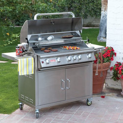 Bull Outdoor Products - Bull Brahma BBQ Grill Cart Multicolor - 55000LP - Shop for Grills from Hayneedle.com! Take the bull by the horns - fire up the Bull Brahma Gas Grill with Cart and show the meat who's the master. This state-of-the-art stainless steel grilling machine boasts 5 bar burners at 15 000 BTUs each and a rear infrared burner with an additional 15 000 BTUs for a total of 90 000 BTUs of custom-controlled heat. With a huge primary cooking surface of 760 square inches augmented by a 266-square-inch warming rack above this grill is ideal for tackling large cooking projects at home or commercially. Mounted on a custom-fit matching stainless steel cart the Brahma comes with a slew of extras and accessories that the grilling gourmand can't live without. Keep reading for a full list of features and add-ons on this awesome grill. Key features of the Bull Brahma Gas Grill with Cart: 16-gauge 304 brushed stainless steel construction - grill head and cart 5 stainless steel bar burners at 15 000 BTUs each 1 infrared rear burner with 15 000 BTUs 6 Bull Sure-Lite gas valves for reliable safe performance 6 heavy-duty push-to-turn knobs with built-in ignition Dual-lined roll-top hood with seamless welded edges Heavy-duty hi-temp thermometer built-into lid Stainless steel cooking grates - 760-square-inch primary cooking surface 266-square-inch stainless steel warming rack Full-size stainless steel drip tray Chrome-plated spit and rod for spit-style rotisserie cooking Stainless steel rotisserie motor Full-length stainless steel handle Hose and regulator included with LP model; GS regulator included with NG model Stainless steel cart with dual front drawers Four heavy-duty casters; 2 locking for safe movement and placement Two spacious side tables for prep work and serving Complete grill packs is CSA-certified and NSF-approved Complete dimensions: 64L x 25D x 48.5H inches Product warranty: Burners have a 20-year warranty. Grates carry a life-time warranty; remainder of product pieces have 1 year warranty. About Bull Outdoor ProductsBull Outdoor Products will change the way you barbecue. The award-winning grills and grill accessories are designed engineered and master-crafted with the finest materials available. All Bull Stainless Steel products are approved by the National Sanitation Foundation which allows residential customers to cook on commercial-quality grills. Bull Outdoor Products Inc. pioneered the concept of outdoor barbecue islands recognizing the need for backyard barbecue enthusiasts to bring their grilling talents to match those of professional chefs.