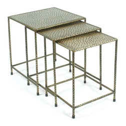 "Go Home Ltd - Hammered Nesting Tables by Go Home - Additional table space is always welcome, especially when guests arrive. Crafted of iron with an attractive hammered antique brass finish adds style and function. The set of three will blend beautifully from a traditional to a rustic setting. (GH) Small 16"" wide x 21"" high x 16"" deep Medium 18"" wide x 22"" high x 18"" deep Large 20"" wide x 23"" high x 20"" deep"