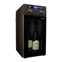 Frontgate - Vinotemp 2-Bottle Wine Dispenser - Keeps open wine fresh through the use of food-safe argon or nitrogen gas. Dispenses chilled single servings from two open bottles, with customizable portion-control feature. Ideal for home or commercial use. Displays open bottles through insulated, double-paned glass. White interior LED lighting creates a gorgeous wine display. The Vinotemp 2-bottle Wine Dispenser makes it easy to serve and preserve two open bottles of white or red wine. You can easily pour a perfect glass of chilled wine with the touch of a button. Ita??s ideal for wine connoisseurs, as it preserves open wine bottles for several weeks.. . . . . Adjustable temperature range of 45 degrees-65 degrees F. Digital LED temperature display. Includes two gas cartridges. Cord measures 4'L.