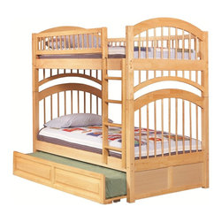 Atlantic Furniture - Windsor Twin Over Twin Bunk Bed / Raised Panel Trundle / Natural Maple - The cheerful finish of this Windsor Twin over Twin Bunk Bed with Raised Panel Trundle Bed in Natural Maple will add spunk to the room and the arched headboard and footboard on both bunks make this bed even prettier. The bunk bed comes with the Windsor Twin Over Twin Bunk Bed plus Raised Panel Trundle. It gives your child a cozy bunk for great night sleep, plus space below for sleepover pals. Made of solid eco-friendly hardwood, an eco-friendly, beautiful and strong wood, this bed is sure to stand the test of time. Use it for years in your child's room then for many more years in the guest room.